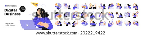 Business Concept illustrations. Mega set. Collection of scenes with men and women taking part in business activities. Vector illustration Royalty-Free Stock Photo #2022219422