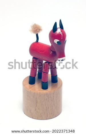 horse wood toy on white background