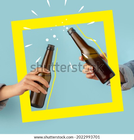 Cheers. Contemporary art composition with two male hands holding beer bottles with lager, cold beer. Concept of festival, national traditions, taste, drinks. Mix photo and illustraion Royalty-Free Stock Photo #2022993701