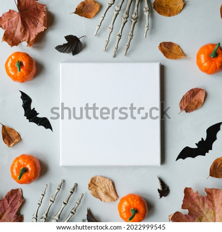 Halloween holiday concept. Blank canvas frame for halloween congratulation. Mockup poster. Copy space.