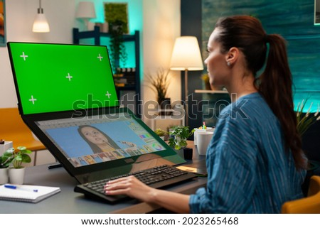 Office studio employee working with green screen and retoucher for professional gradient pictures. Photography specialist using mockup template and chroma key for isolated background