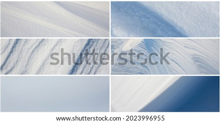 Set of snow textures. Collection of panoramic winter backgrounds with snowy ground. Beautiful wide panoramas with natural textures of clean fresh snow and wind-sculpted patterns on a snowy surface. Royalty-Free Stock Photo #2023996955