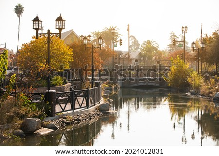 Afternoon autumn view of a public park in downtown Bakersfield, California, USA. Royalty-Free Stock Photo #2024012831