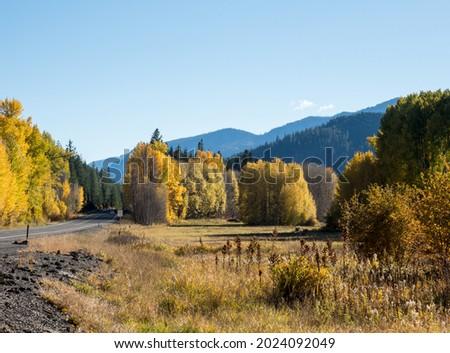 Fall foliage along US highway 2 in Cascade Mountains - Washington state, USA Royalty-Free Stock Photo #2024092049