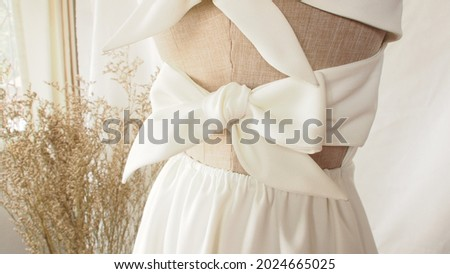 Zoom in clothing fabric bow backless dress textile garment texture back bow dress detail close up neat stitching fashion design detail fabric bow background summer color bow girl summer fashion  Royalty-Free Stock Photo #2024665025