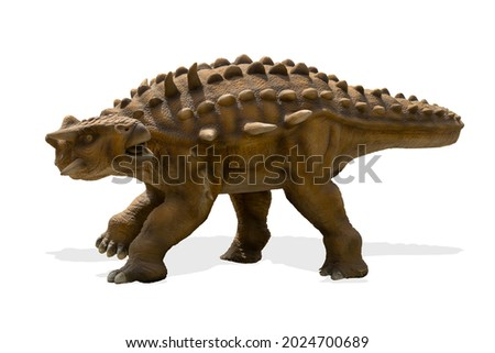 Ankylosaurus isolated on white background. Ankylosaurus is a herbivore genus of armored dinosaur lived during cretaceous period Royalty-Free Stock Photo #2024700689