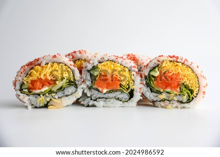 Pictures of beautiful sushi rolls.