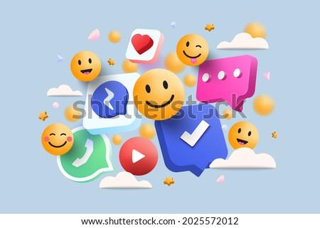 3D Social media platform, online social communication applications concept, emoji, hearts, chat on light blue background. 3d Vector illustration Royalty-Free Stock Photo #2025572012