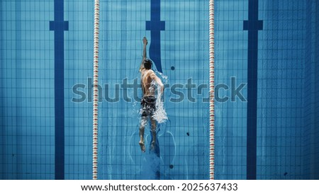 Aerial Top View Male Swimmer Swimming in Swimming Pool. Professional Athlete Training for the Championship, using Front Crawl, Freestyle Technique. Top View Shot Royalty-Free Stock Photo #2025637433