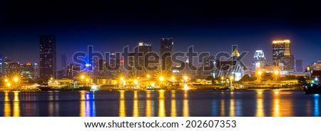 Bangkok metropolis night scene cityscape at waterside #202607353