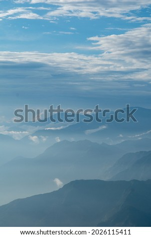 Cloud and fog cover all mountain, View of Dalhousie from kalatop. Royalty-Free Stock Photo #2026115411