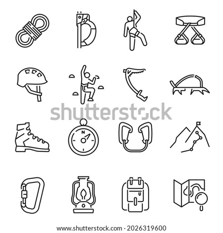 Collection of linear simple climbing icon vector illustration. Set of monochrome alpinism, mountaineering, equipment, hiking, tourism, outdoor hobby isolated on white. Extreme sport leisure activity