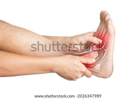 heel muscle pain white background heel injury Royalty-Free Stock Photo #2026347989