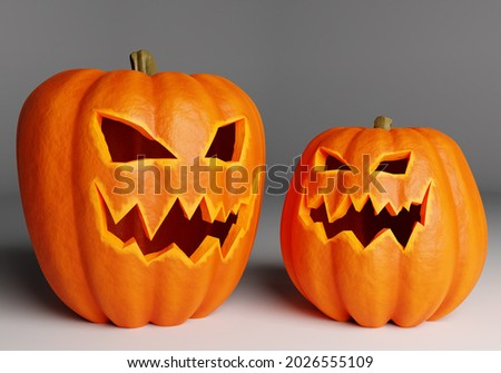 Two halloween pumpkin on a gray background. Halloween pumpkin with scary face cut out. Jack-o-lantern made to all hallows' eve. 3d illustration with halloween pumpkin close up.