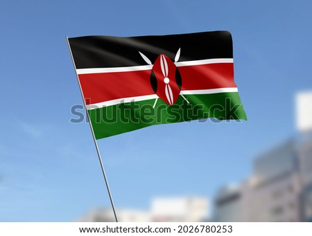 Kenya Flag Wave in the Sky Royalty-Free Stock Photo #2026780253