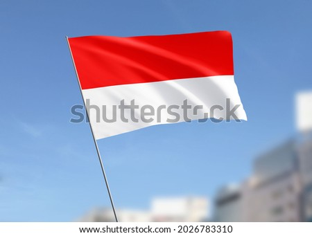 Indonesia Flag Wave in the Sky Royalty-Free Stock Photo #2026783310
