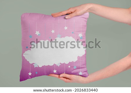 White cloud on the pink pillow Royalty-Free Stock Photo #2026833440