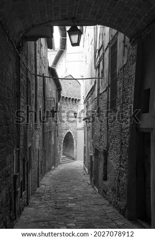 Perugia (Italy) - A characteristic views of historical center in the beautiful medieval and artistic city, capital of Umbria region, in central Italy. Royalty-Free Stock Photo #2027078912