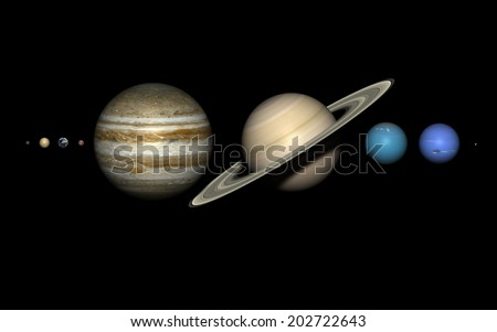 The planets of the solar system on black,  rendered using the best available NASA imagery. The relative sizes are correct. Elements of this image furnished by NASA.