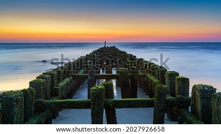 Old row of wooden piles breakwater in sea. Green algae and soft wave. Beautiful seascape. Royalty-Free Stock Photo #2027926658