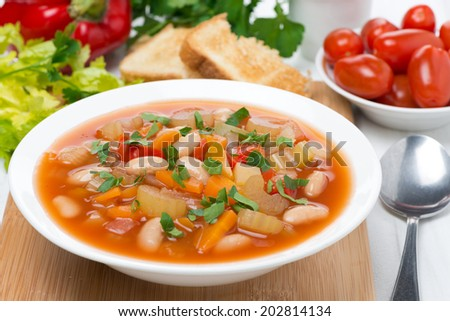 vegetable minestrone in a plate, close-up #202814134