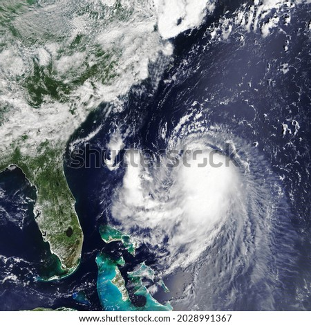 Hurricane Ida is approaching the coast USA. The eye of the  typhoon. Severe tropical storm. Satellite view  Some elements of this image furnished by NASA Royalty-Free Stock Photo #2028991367