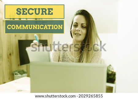 Text showing inspiration Secure Communication. Word Written on preventing unauthorized interceptors from accessing Social Media Influencer Creating Online Presence, Video Blog Ideas