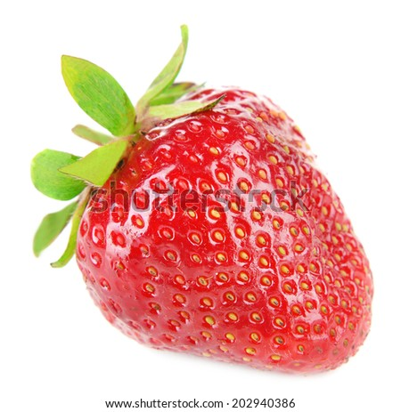 Ripe sweet strawberry isolated on white #202940386