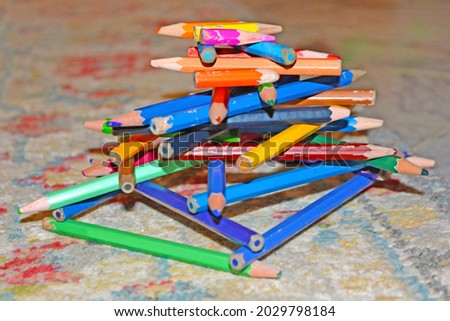 various old pencil group with different color, Education concept colorful color pencils, Set of old used and broken colored pencils Ugly worn crayons or pencils with broken ends should be sharpened. Royalty-Free Stock Photo #2029798184