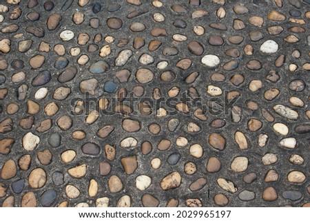stone rock wall  garden footpath Royalty-Free Stock Photo #2029965197