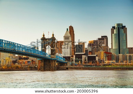 Cincinnati downtown overview in the evening