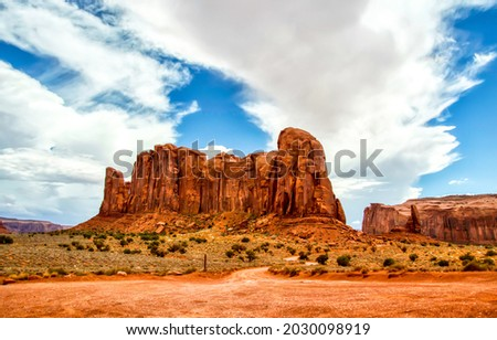 Rock in the desert of the canyon. Red rock canyon desert landscape. Mountains in red rock canyon Royalty-Free Stock Photo #2030098919