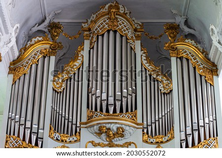 The close-up of an organ in a Danish church  Royalty-Free Stock Photo #2030552072