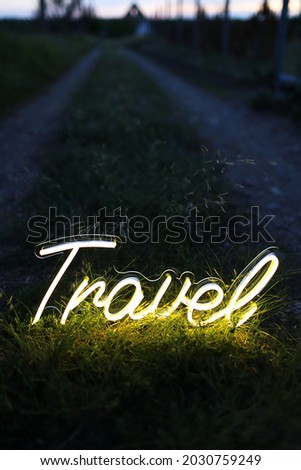 Yellow neon sign travel. Neon sign. Custom neon. Travel vibe.