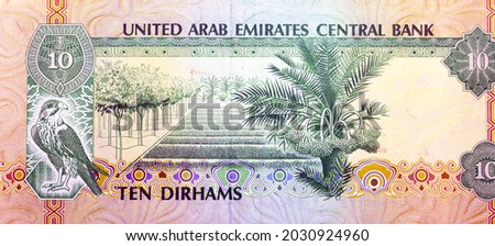 Reverse side of 10 ten Dirhams banknote of the United Arab Emirates, currency of the UAE issued 1982 with Pictures of a sparrowhawk and a Pilot Farm, old Emirates money, vintage retro Royalty-Free Stock Photo #2030924960