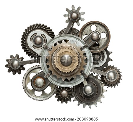 Stylized mechanical collage. Made of metal gears. Royalty-Free Stock Photo #203098885
