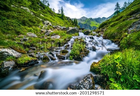 A fast stream among the mountain hills. Mountain river stream flowing. River stream in mountains. River stream flow Royalty-Free Stock Photo #2031298571