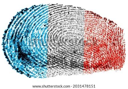 Fingerprint stamp isolated on a white background, French flag.