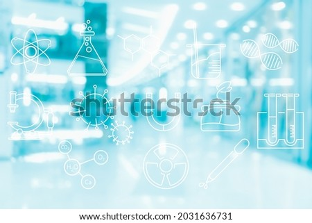 laboratory science technology icon in term of chemistry medicine research on abstract blur and defocused background, biology and chemical concept