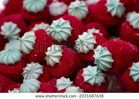 Red candy marshmallows trawberriespile - close up background. Selective focus. High quality photo Royalty-Free Stock Photo #2031687638
