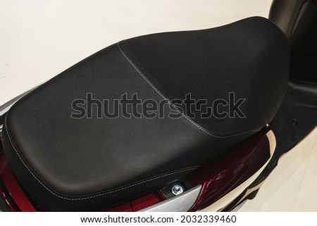Motorcycle classic leather seat.Big Bike seat. Royalty-Free Stock Photo #2032339460