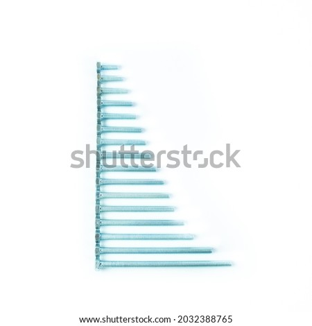 Bolts, screws, rods, hardware, anchors, dowels, screws, metal fasteners on a white background. Fasteners for construction. Royalty-Free Stock Photo #2032388765