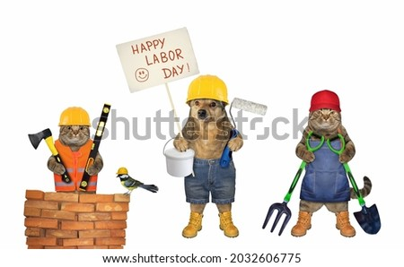 Pet builders with construction tools celebrate labor day. White background. Isolated.