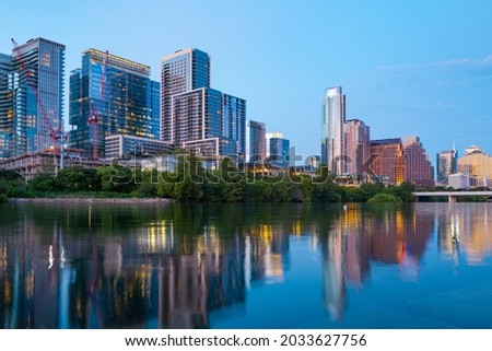 Austin Texas skyline cityscape downtown. USA city. Royalty-Free Stock Photo #2033627756