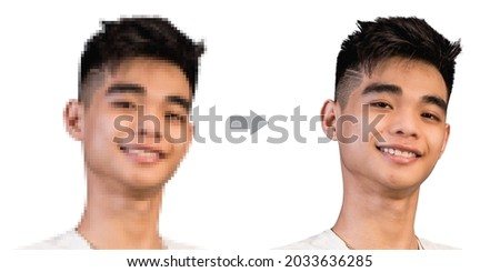 Example of AI Photo upscaling technology - A pixelated picture of a young man on the left, and the the enhanced version on the right.