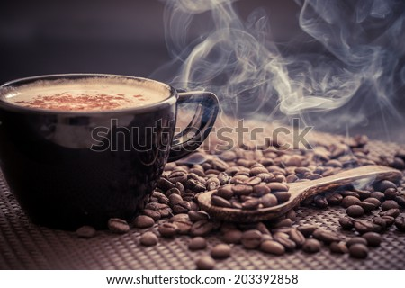 Coffee cup and coffee beans #203392858