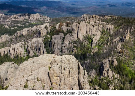 aerial view of the granite formations in the  black hills #203450443