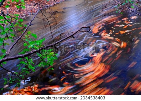 Autumn leaf swirls in a river Royalty-Free Stock Photo #2034538403