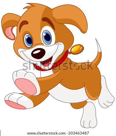 Illustration of the cute fun puppy running