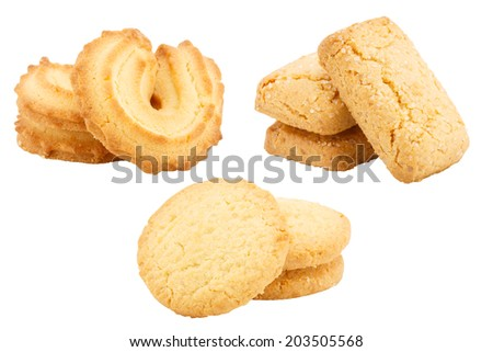 Stack of butter cookies set  isolated on white background #203505568